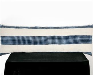 Large Designer Lumbar Pillow in Cream & Blue