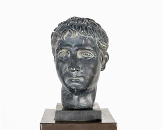 Marble Roman Head on Pedestal Stand