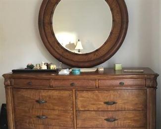 Haverty's dresser & round mirror