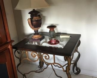 Two side table & coffee table, iron base