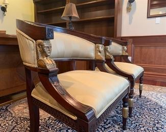 Neoclassical Barrel Back Armchair from Toscano