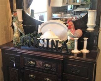 Striking antique mirrored sideboard; rooster; platter; tureen; Lenox candle holders
