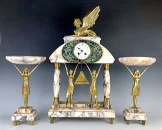Rare Art Deco Egyptian Gilt Bronze 3pc. Clock Set