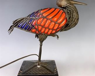 Rare Chapelle Heron Lamp