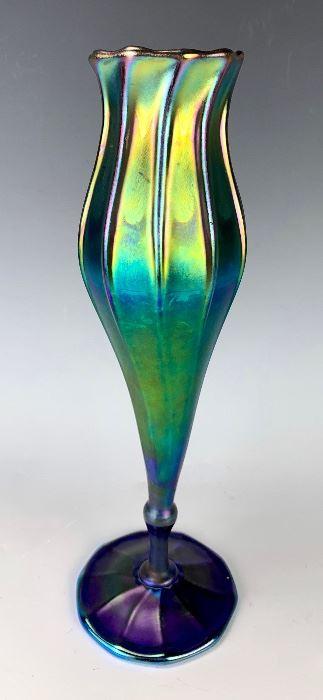 Tiffany Studios Blue Favrile Nouveau Vase