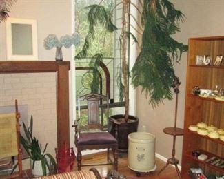 Living Room:  Magazine Holder, Vintage Chair, #10 Crock, Vintage Table/Lamp, Vintage Small Rug, Large Norfolk Pine (Approx 10 feet tall)