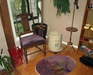Living Room:  Magazine Holder, Vintage Chair, #10 Crock, Vintage Table/Lamp, Vintage Small Rug