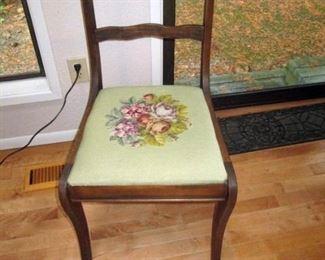 Kitchen Area:  Needle Point Chairs
