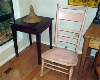 Kitchen Area:  Vintage Lazy Susan Table,  Vintage Pink Rocking Chair