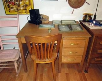 Kitchen Area: Vintage Small Oak Desk