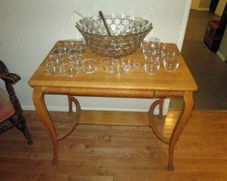 Kitchen Area: Vintage Oak Table, Punch Bowl, Glass Cups