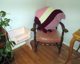 Kitchen Area:  Vintage Chair, Doll Crib