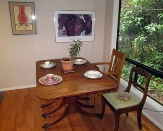 Kitchen Area:  Vintage Drop Leaf Table, Collectible China, Chairs, Pictures