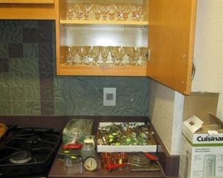 Kitchen Area:  Astrid Swedish Crystal goblets in clear, pink and amber