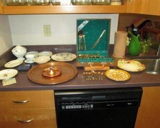 Kitchen Area:  Copper Plate, Flatware, Dishes