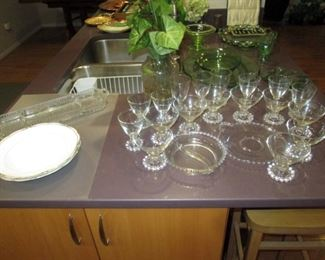 Kitchen Area:  Green Depression Glass, Candlewick goblets, divided dish and plate