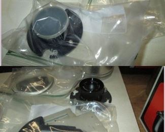 Garage:  Simon Omega Enlarger w/Lens, Aluminium Spacers, Box of Tinted Lens, 2 Half-Moon Thick glass pieces,  Extra Lens