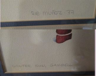 Kitchen Area:  Picture Rie Monoz  '77, Winter Sun, Gambell (Signed)