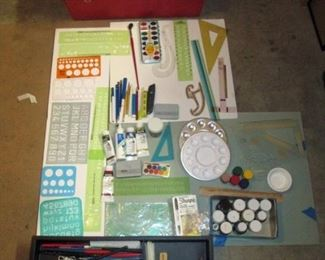 Garage: Art Supplies in Red Box-Paint, Pens, Brushes, Clay, Triangles, Drawing Pencils, Oil Paints, Acrylic Paint