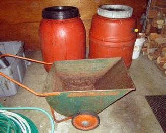 Garage:  Rain Barrels, Garden Cart