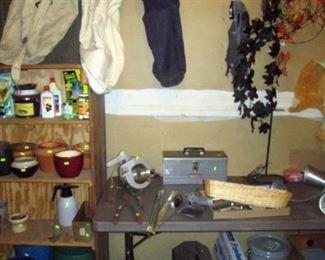 Garage:  More Stuff  Saw Horses, Halloween Stuff