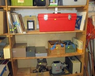 Garage: Art Supplies in Red Box-Paint, Pens, Brushes, Clay, Triangles, Drawing Pencils, Oil Paints, Acrylic Paint  Movie Projector 8mm w/8mm Camera, Slide Projector,