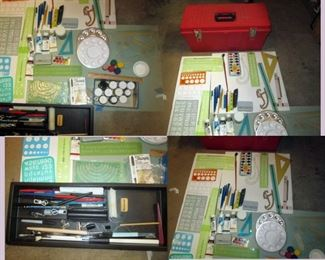 Garage: Art Supplies in Red Box-Paint, Pens, Brushes, Clay, Triangles, Drawing Pencils, Oil Paints, Acrylic Paint,