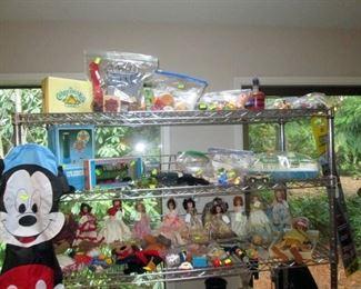 Kitchen Area:  Dolls, Toys, Bakers Shelf Unit,