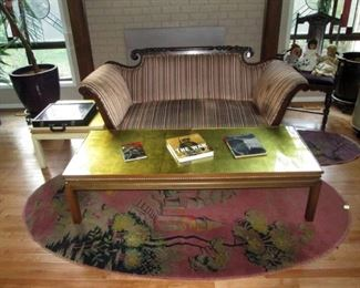 Living Room:  2 Gold Glass Top Coffee Tables
