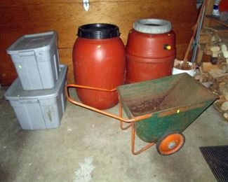 Garage: Bins, Rain Barrels, Garden Cart