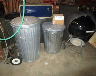 Garage:  Metal Trash Cans, Grill