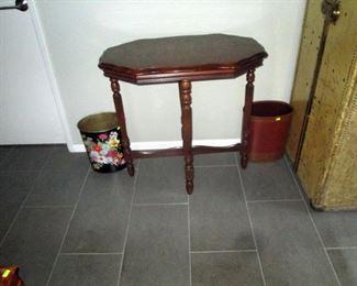 Hallway:  Nice Vintage Table, 2 Wastebaskets