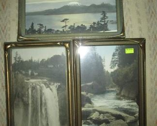 Kitchen Area: Several piecrust framed tinted photographs (Snoqualmie Cascade mountain stream, Mt. Edgecumbe, Sitka Alaska)