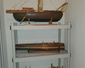 Model ships (hand carved wooden by Kenneth Floyd) and model planes.