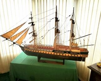 Large, hand carved wooden ship model by the late local artist Kenneth Floyd. Extremely detailed.
