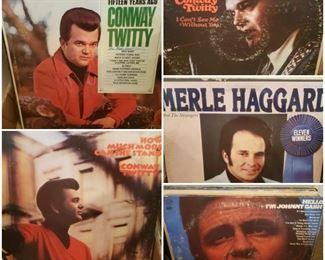Records/lp/vinyl including Conway Twitty, Johnny Cash, Merle Haggard