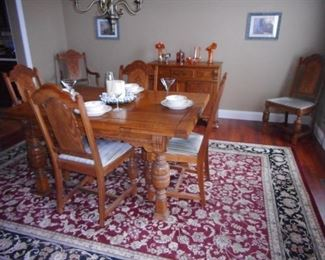 Antique Oak Hand Carved Dining Table. This Set is from GR GR Grandparents Farm was in Upstate, NY. Room Rug Made in Belgium NOEILITY Collection 7x10