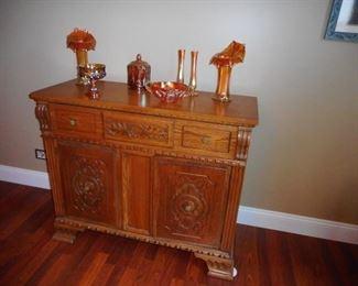 Antique (1800's) Hand Carved Oak Side Board.