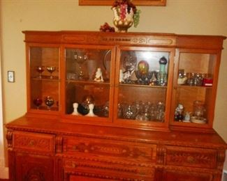 Antique (1800's) Hand Carved Oak 2 Piece . Glass Hutch Cabinet/Side Board/Storage/Drawers