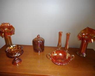Vintage Carnival Marigold Jack in the Pulpit Vases, Carnival Glass Biscuit Jar, Centerpiece