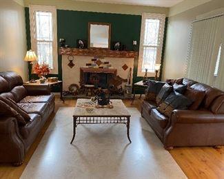 Family Room. Cabin Decor. Macys Chocolate Brown Leather Sofa, Love Seat