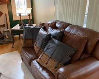 Macy's Chocolate Brown Leather Love Seat