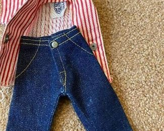 Vintage Ideal Miss Revlon Striped Tag Shirt, Cuff Jeans