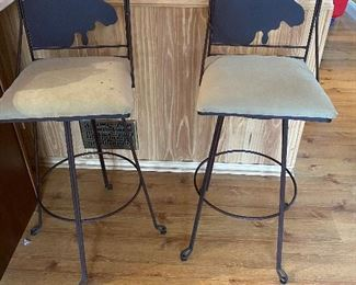 Cast Metal Moose Bar Kitchen Chairs, Foot Rest. PAIR