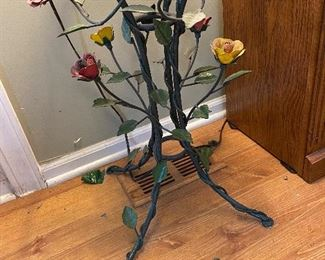 Hand Tooled Metal Flowers, Glass Top Occasional Table