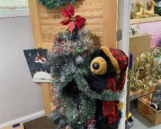 Dan Dee Black Bear Holding Snowy Christmas Tree on Stand.Approx 4 Feet Tall