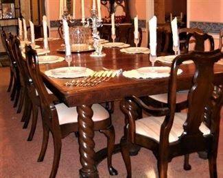 "12' 3"" BARLEY TWIST DINING TABLE AND 12 CHAIRS"