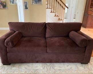 AVERY BOARDMAN SOFA AND LOVESEAT IN CHOCOLATE ULTRA SUEDE-TRADITIONAL STYLE, EXTRA COMFORT CUSHIONS IN EXCELLENT CONDITION!