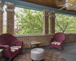 Outdoor deck wicker furniture