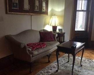 decorative sofa, table and rug